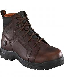 "Rockport Women's More Energy Brown 6"" Lace-Up Work Boots - Composition Toe"