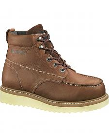 "Wolverine Moc Toe 6"" Work Boots - Steel Toe"