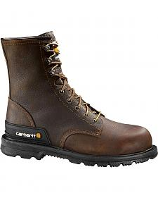 "Carhartt 8"" Unlined Dark Brown Boots - Safety Toe"