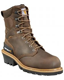 "Carhartt 8"" Crazy Horse Brown Waterproof Insulated Logger Boot - Safety Toe"