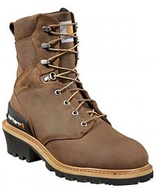 "Carhartt 8"" Brown Waterproof Logger Boots - Safety Toe"