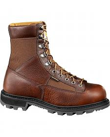"Carhartt 8"" Steel Toe Brown Leather Low Heel Waterproof Logger Boots"