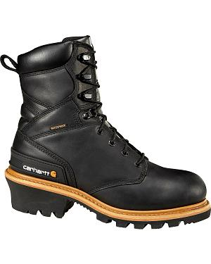 "Carhartt 8"" Steel Toe Black Leather Waterproof Logger Boots"