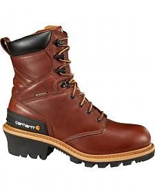 "Carhartt 8"" Redwood Waterproof Logger Boots - Steel Toe"