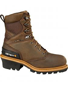 "Carhartt 8"" Brown Waterproof Insulated Logger Boots"