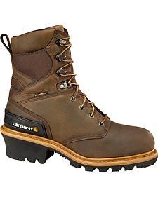 "Carhartt 8"" Brown Waterproof Insulated Logger Boots"