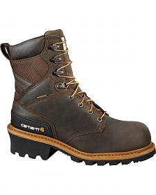 "Carhartt 8"" Brown Waterproof Logger Boot"