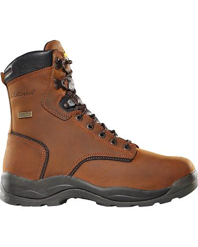 """LaCrosse Mens Waterproof Quad Comfort 8"""" Steel Toe Lace-Up Work Boots Western & Country 480002"""