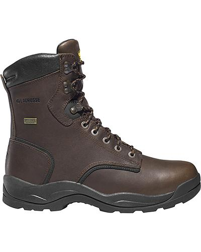 """LaCrosse Mens Quad Comfort 8"""" Dark Brown Lace-Up Work Boots Western & Country 483005"""
