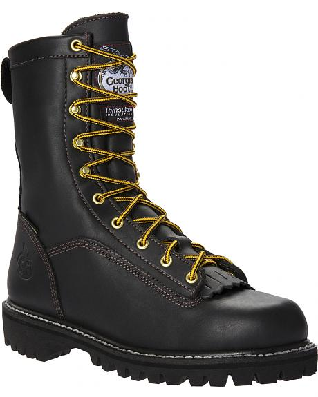 Georgia Insulated Low Heel Logger Work Boots - Round Toe