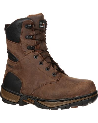 "Rocky Forge Waterproof 8"" Work Boots Round Toe Western & Country RK021"