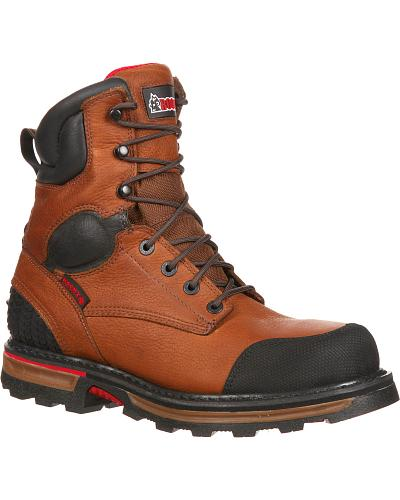 "ROCKY Mens Elements Dirt Steel Toe Waterproof 8"" Work Boots Western & Country RKYK076"