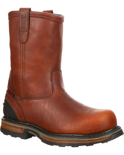 ROCKY Mens Elements Steel Waterproof Steel Toe Wellington Work Boots Western & Country RKYK088