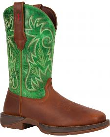Durango Rebel Green Pull-On Western Boots - Square Toe
