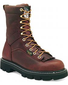 Georgia Low Heel Logger Boots - Round Toe