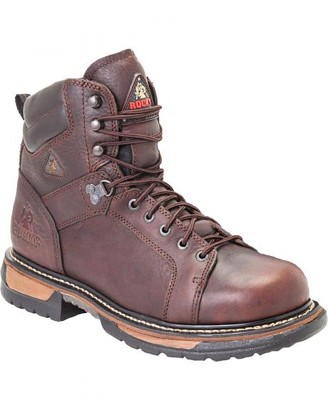 Rocky Ironclad Waterproof Lace-to-Toe Work Boots - Round Toe