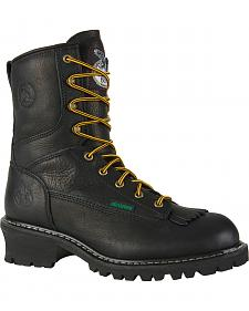 "Georgia 8"" Waterproof Logger Boots - Round Toe"