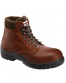 Avenger Men's Brown Pebbled Leather Anti-Slip Work Boots - Steel Toe