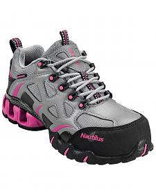 Nautilus Women's Grey and Pink Nylon Microfiber Athletic Work Shoes - Composite