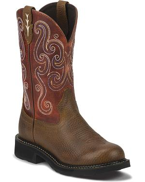Justin Gypsy Swirling Stitch Cowgirl Work Boots - Steel Toe