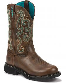 Justin Gypsy Swirling Stitch Cowgirl Waterproof Work Boots - Round Toe