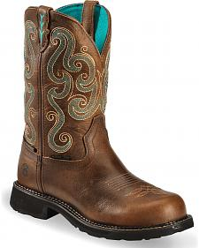 Justin Gypsy Swirling Stitch Cowgirl Waterproof Work Boots - Steel Toe