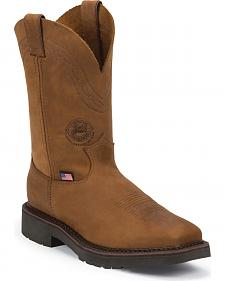 Justin Original Men's Crazyhorse J-Max Caliber Work Boots - Square Toe