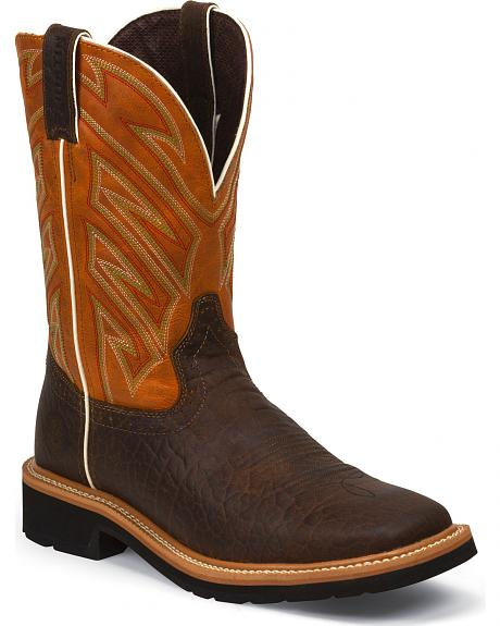 Justin Original Work Boots Rugged Chestnut Pull-On Hybred Work Boots - Square Toe