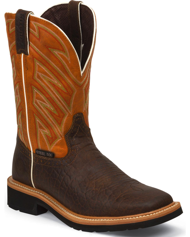 Jow Men S Justin Original Work Boot Stampede Square Steel Toe Wk4564 Ebay