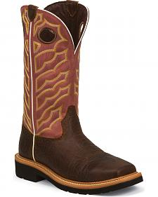Justin Original Work Boots Chestnut Brown Pull-On Work Boots - Square Toe