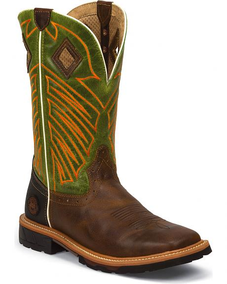 Justin Original Work Boots Rugged Tan Pull-On Hybred Work Boots - Square Toe