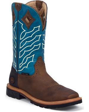 Justin Peanut Wyoming Hybred Waterproof Work Boots - Steel Toe