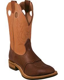 Boulet Bullhide Cognac Western Work Boots - Round Toe