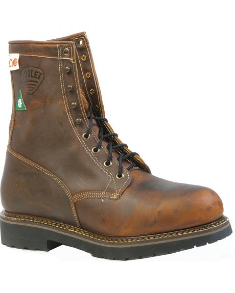 Boulet Laid Back Tan Spice Lace-Up Work Boots - Steel Toe