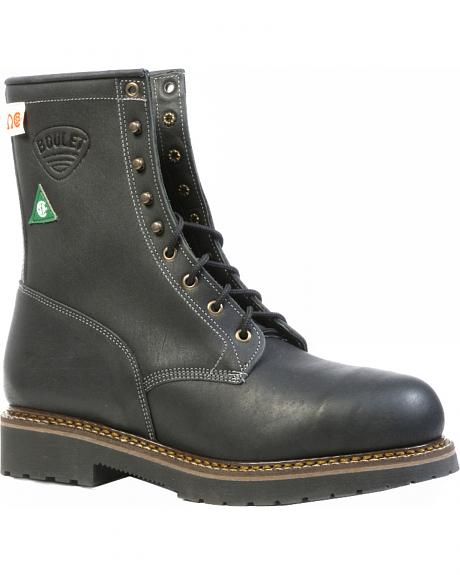 Boulet Everest Black Tall Lace-Up Work Boots - Steel Toe