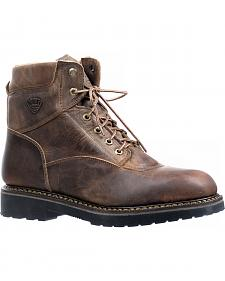 Boulet Hillbilly Golden Lace-Up Work Boots - Round Toe