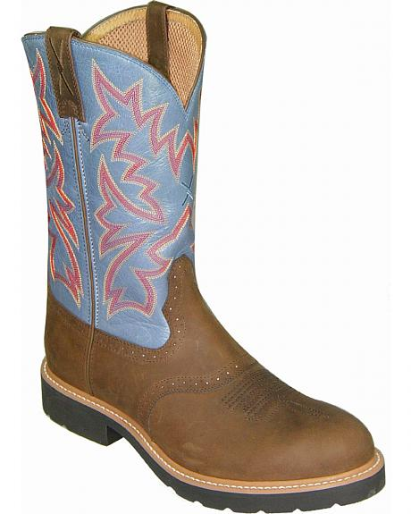 Twisted X Denim Blue Cowboy Pull-On Work Boots - Soft Round Toe