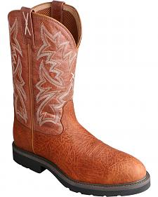 Twisted X Brown Cowboy Work Pull-On Boots - Soft Round Toe