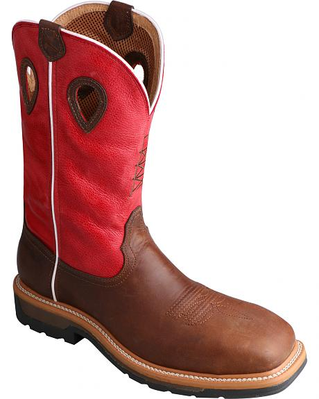 Twisted X Lite Cowboy Red Work Cowboy Boots - Steel Toe