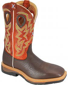 Twisted X Orange Lite Cowboy Work Boots - Soft Square Toe