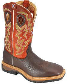 Twisted X Orange Lite Cowboy Work Boots - Steel Toe