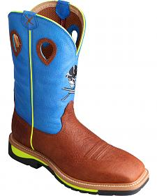 Twisted X Neon Blue Lite Cowboy Work Boots - Soft Square Toe