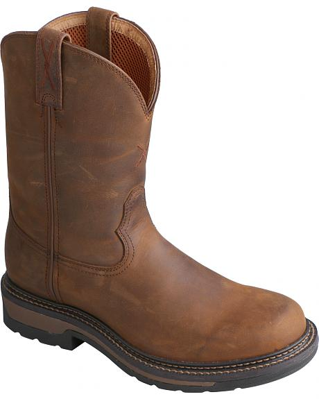 Twisted X Saddle Brown Lite Cowboy Work Boots - Soft Round Toe