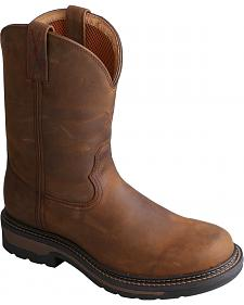 "Twisted Men's 10"" Distressed Brown Lite Cowboy Work Boots - Steel Toe"