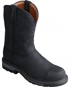 Twisted X Black Lite Cowboy Work Boots - Soft Round Toe