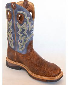 Twisted X Navy Lite Cowboy Work Boots - Soft Square Toe