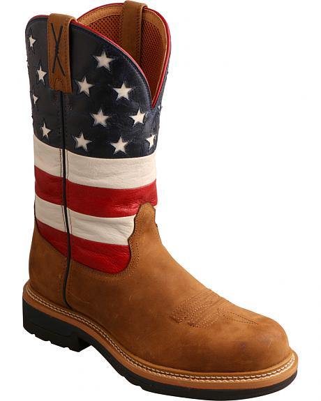 Twisted X Men's VFW American Flag Lite Cowboy Work Boots - Round Toe