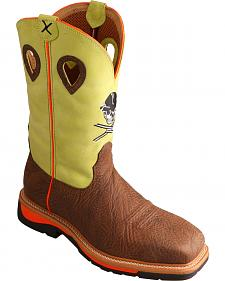 Twisted Neon Yellow Skull Lite Cowboy Work Boots - Steel Toe