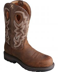 Twisted X Oiled Distressed Waterproof Lite Cowboy Work Boots - Soft Round Toe