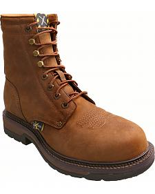 "Twisted X Distressed 8"" Lite Cowboy Work Lace-Up Boots - Steel Toe"